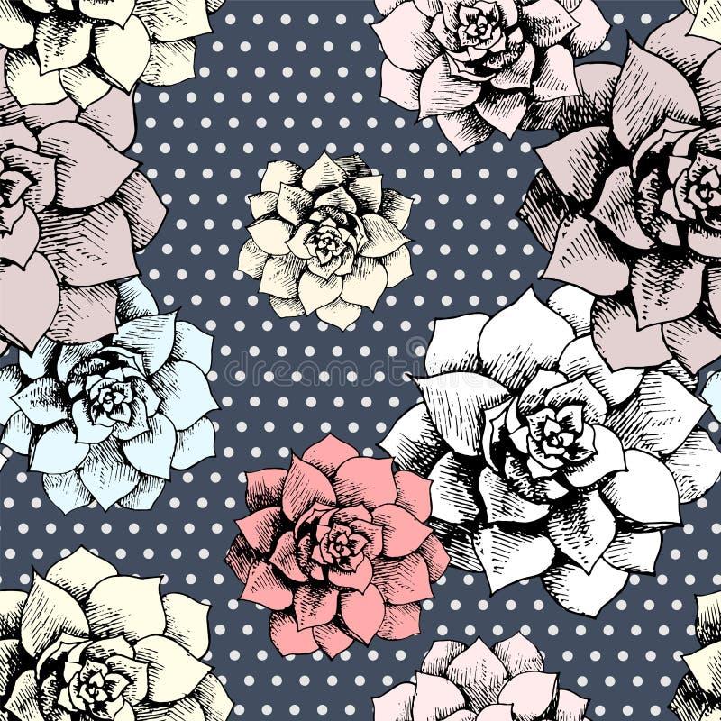 Nahtloses Blumenmuster der Weinlese mit Punkten stock abbildung