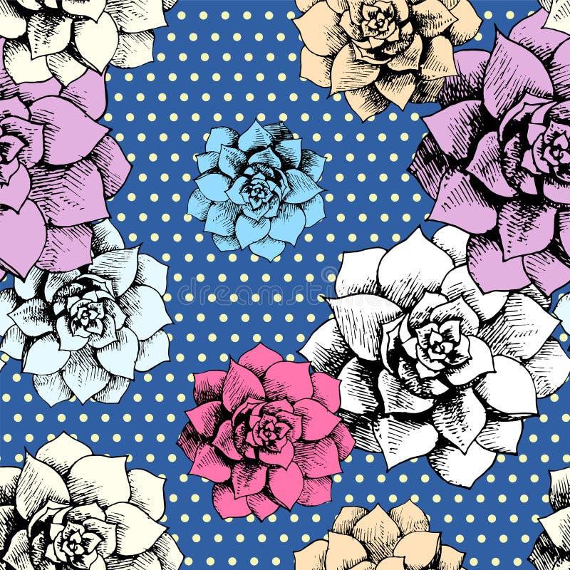 Nahtloses Blumenmuster der Weinlese mit Punkten lizenzfreie abbildung