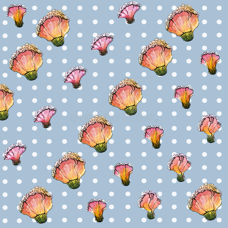 Nahtloses Blumenmuster des Aquarells lizenzfreie abbildung