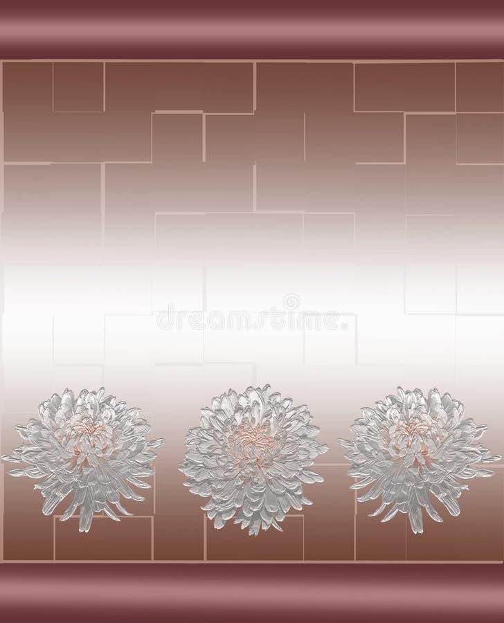 Nahtloses Blumenmuster für Badezimmer und Küchenfliese oder -grenze mit Chrysanthemenblumen lizenzfreie abbildung