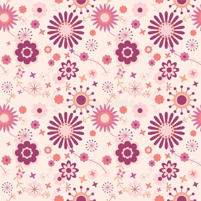 Nahtloses Blumenmuster im Rosa lizenzfreie abbildung