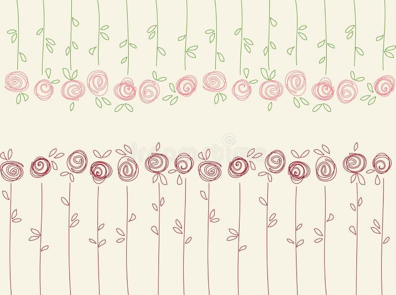 Nahtloses Blumenmuster mit abstrakten Rosenblumen lizenzfreie abbildung
