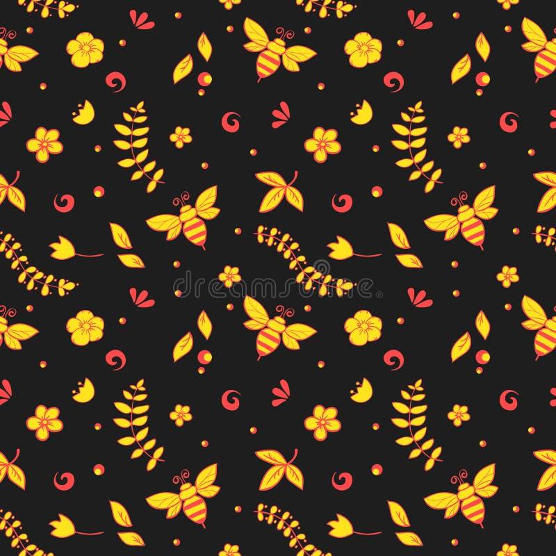 Nahtloses Blumenmuster mit Bienen, Honig, Blumen, Bienenstock und anderem Gegenstand Khokhloma lizenzfreie abbildung