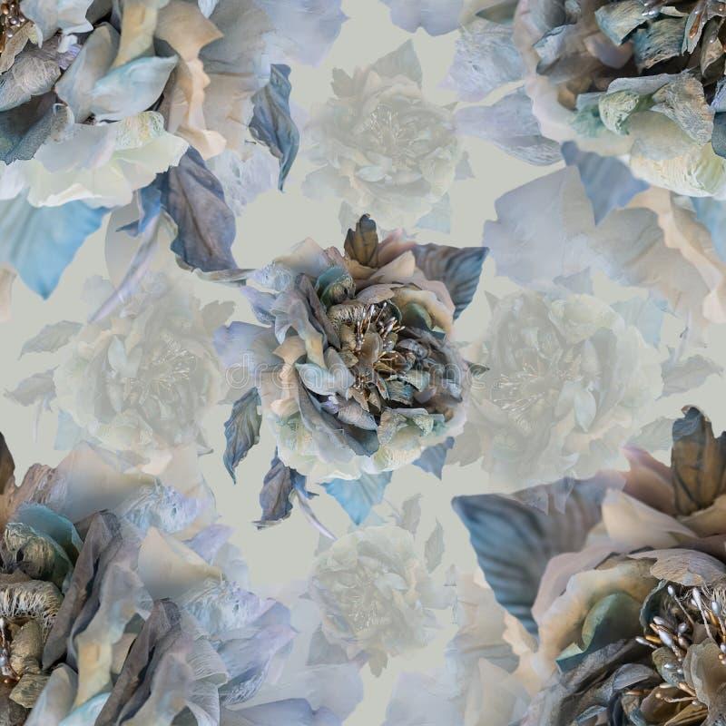 Nahtloses Blumenmuster mit grauen Rosen der Seide Rosafarbene und gelb-orangee Lilien getrennt auf Wei? lizenzfreie abbildung