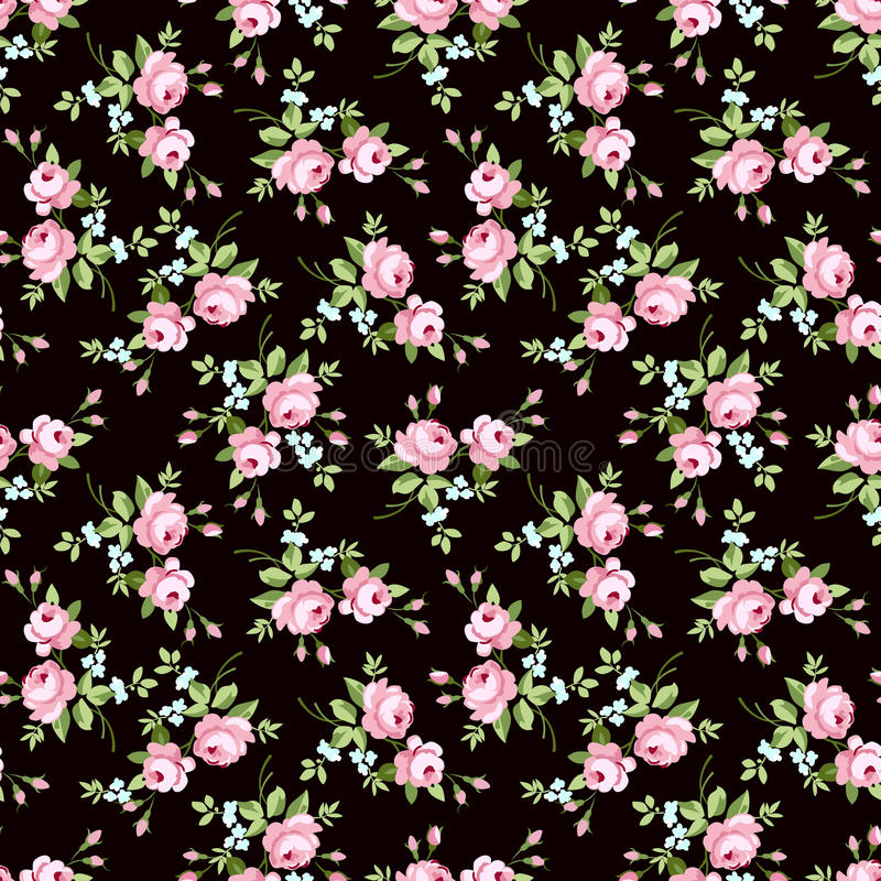 nahtloses blumenmuster mit kleinen rosa rosen vektor abbildung illustration von blatt. Black Bedroom Furniture Sets. Home Design Ideas