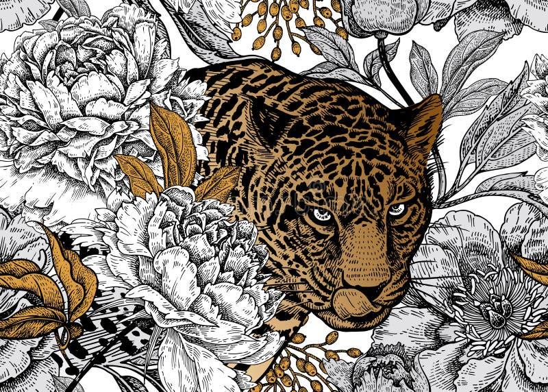 Nahtloses Blumenmuster mit Leoparden und Pfingstrosen lizenzfreie abbildung