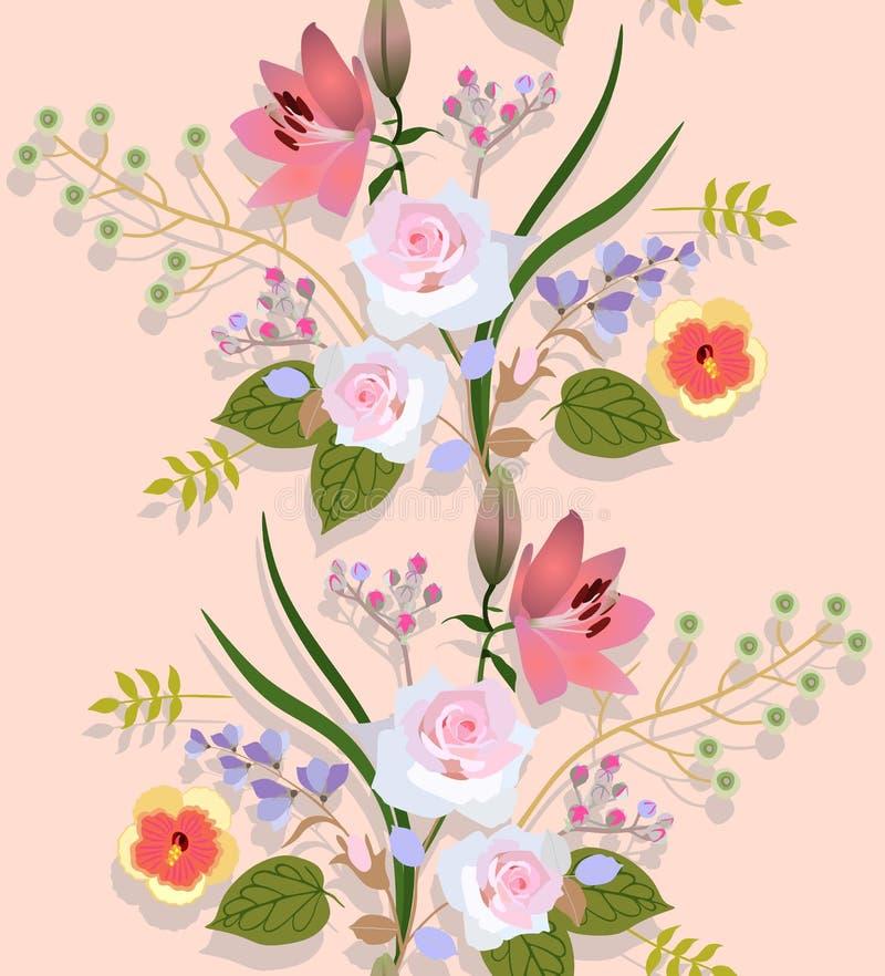 Nahtloses Blumenmuster mit Luxusblumensträußen von Gartenblumen und -schatten auf hellem Pfirsichfarbhintergrund im Vektor vektor abbildung
