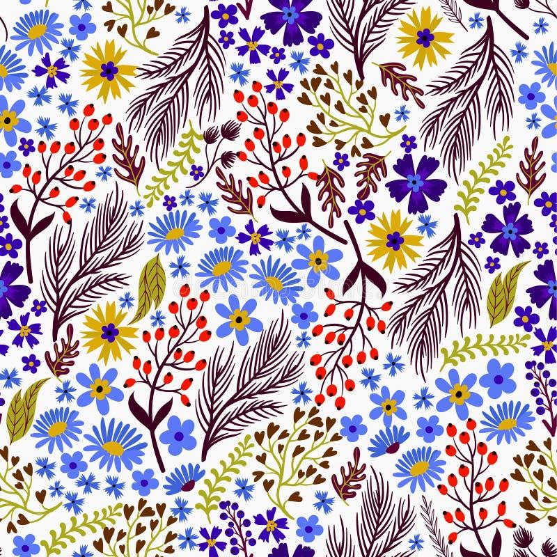 Nahtloses Blumenmuster mit netten kleinen ditsy Blumen Auch im corel abgehobenen Betrag vektor abbildung