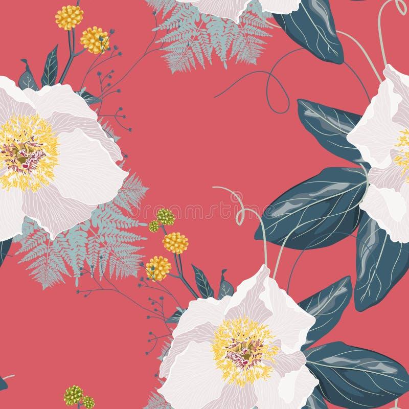 Nahtloses Blumenmuster mit Pfingstrosen und Kräutern, Aquarellart stock abbildung