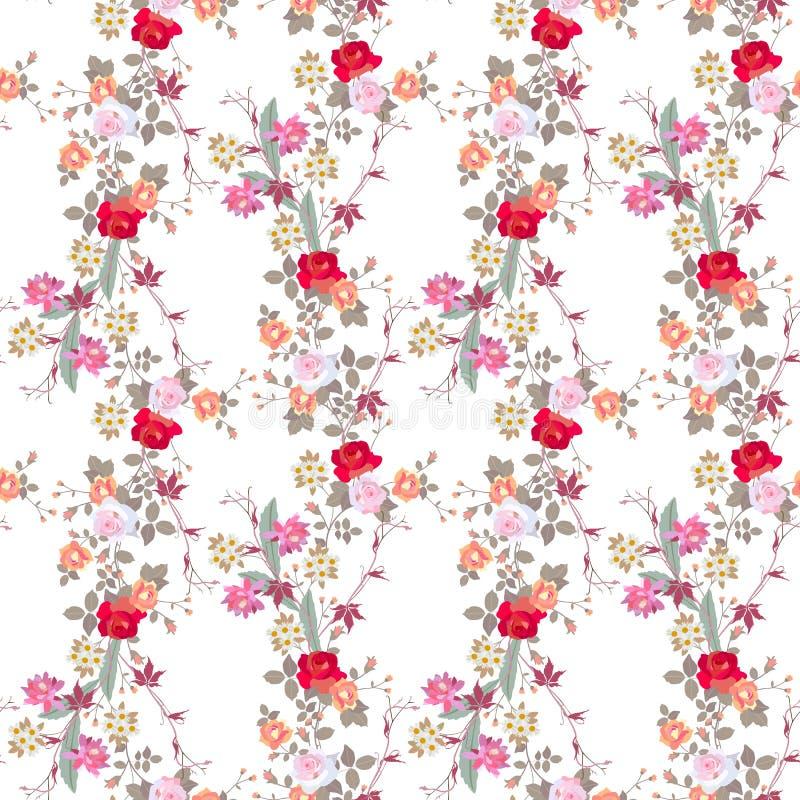 Nahtloses Blumenmuster mit Rosen-, Kamillen- und Kaktusblumen vektor abbildung