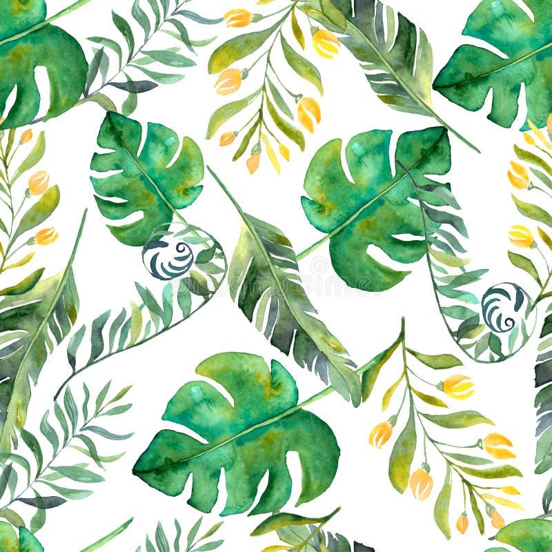 tropische blumen des aquarells auf geometrischem