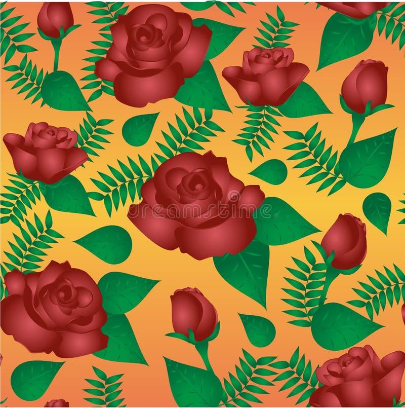 Nahtloses Blumenmuster mit weinartigen Rosen lizenzfreie abbildung