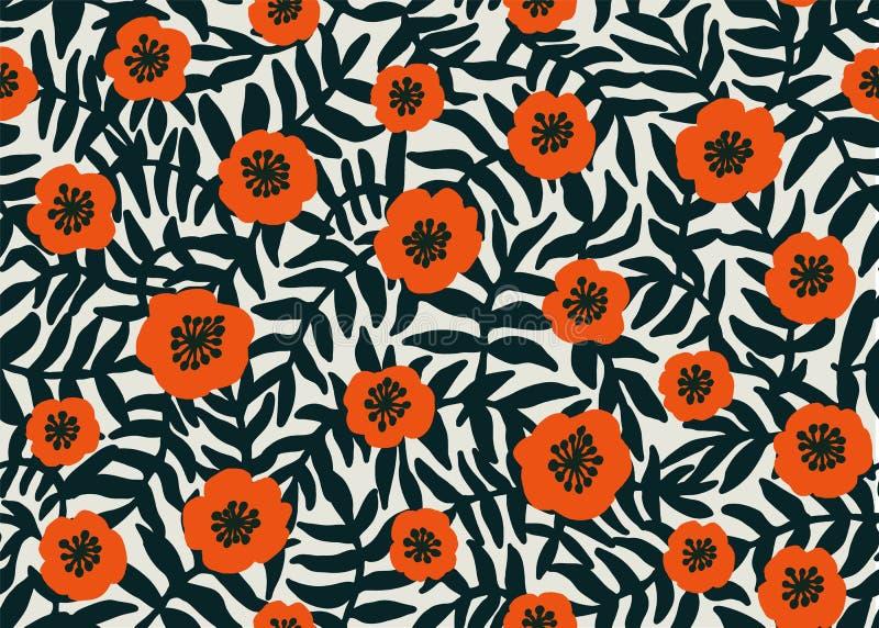 Nahtloses Blumenmuster rotes Mohnblumenmuster des Retrostils mit Mohnblumenblumen und dunkelgrünes Laub auf Beige floral lizenzfreie abbildung