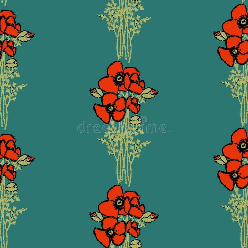 Nahtloses Blumenmuster rotes Mohnblumenmuster des Retrostils mit Mohnblumenblumen und grünes Laub auf Beige Nahtloser mit Blumenh stock abbildung