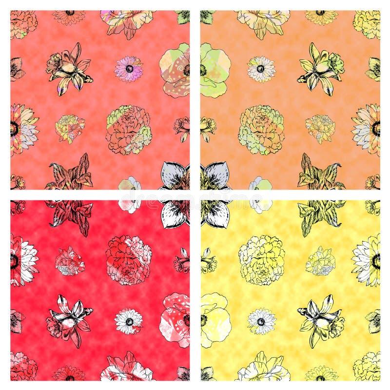 Nahtloses Blumenmuster u. wärmen farbigen Hintergrund stockfotos