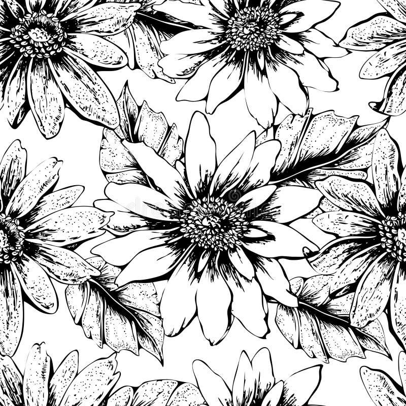Nahtloses Blumenschwarzweiss-muster mit netten gelben Sonnenblumen Für Ihr eigenes Design Vektortapete, Karte vektor abbildung