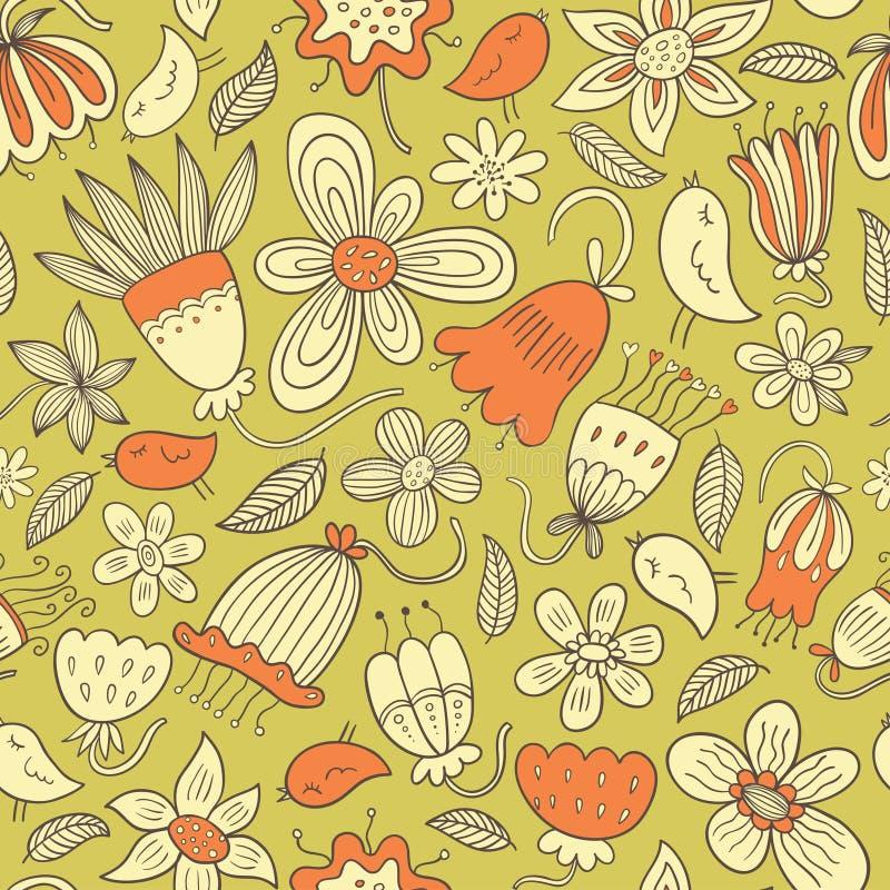 Nahtloses Blumenvektormuster stock abbildung