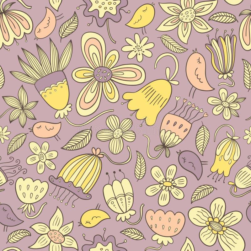 Nahtloses Blumenvektormuster lizenzfreie abbildung