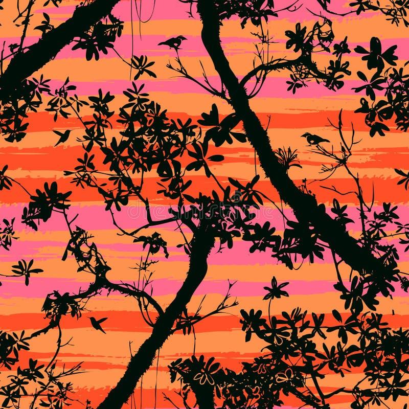 Nahtloses Blumenvektormuster mit Bäumen lizenzfreie abbildung