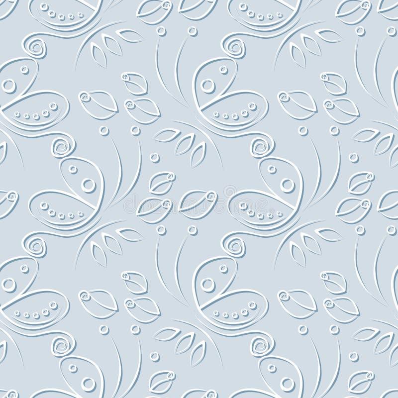 Nahtloses Blumenvektormuster mit Insekt Dekorativer blauer Pastellhintergrund mit Schmetterlingen, Rosen und dekorativen Elemente stock abbildung
