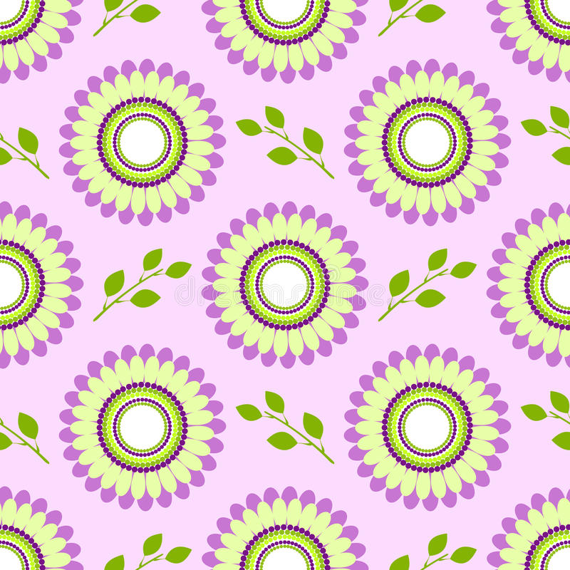 Nahtloses Blumenvektormuster, symmetrischer Hintergrund mit bunten Blumen und grüne Blätter, über hellviolettem Hintergrund lizenzfreie abbildung