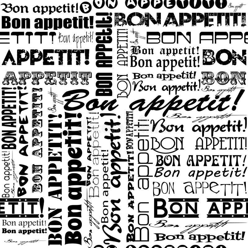 Nahtloses Bon appetit! Muster stock abbildung