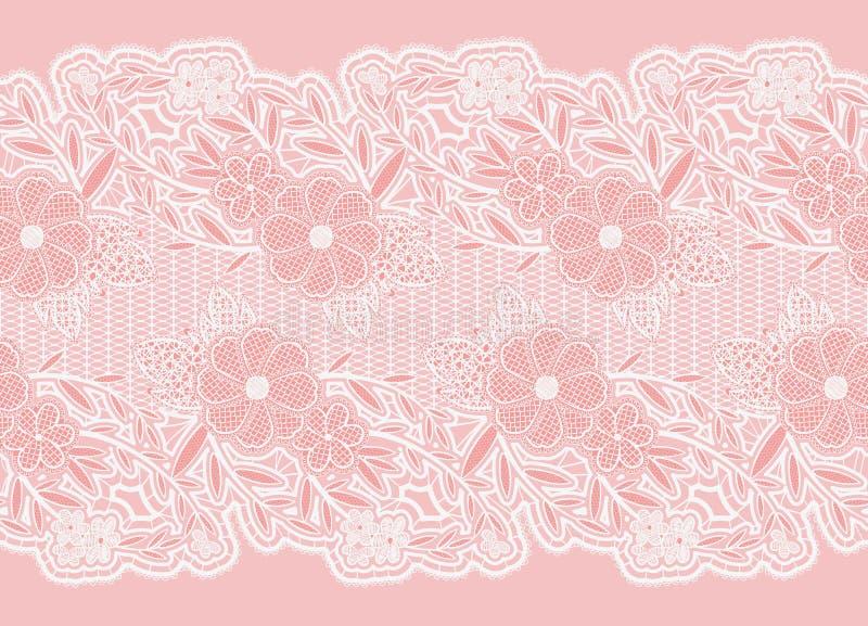 Nahtloses breites Spitzeband Weiße empfindliche Blumen auf einem rosa Hintergrund vektor abbildung