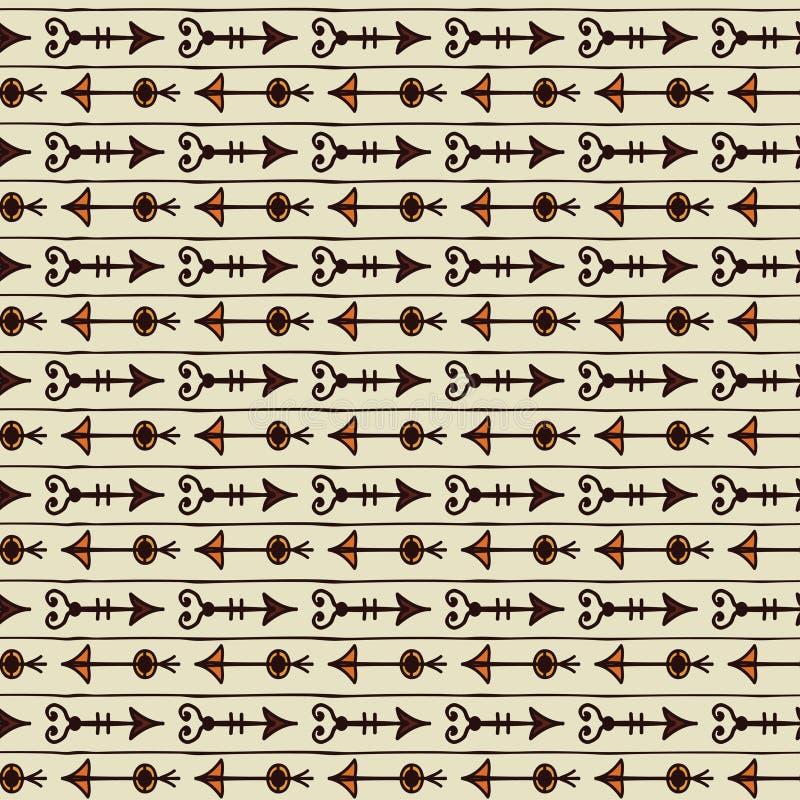 Nahtloses buntes ethnisches Muster der Weinlese mit Pfeilen Hand gezeichnet Vektor stock abbildung