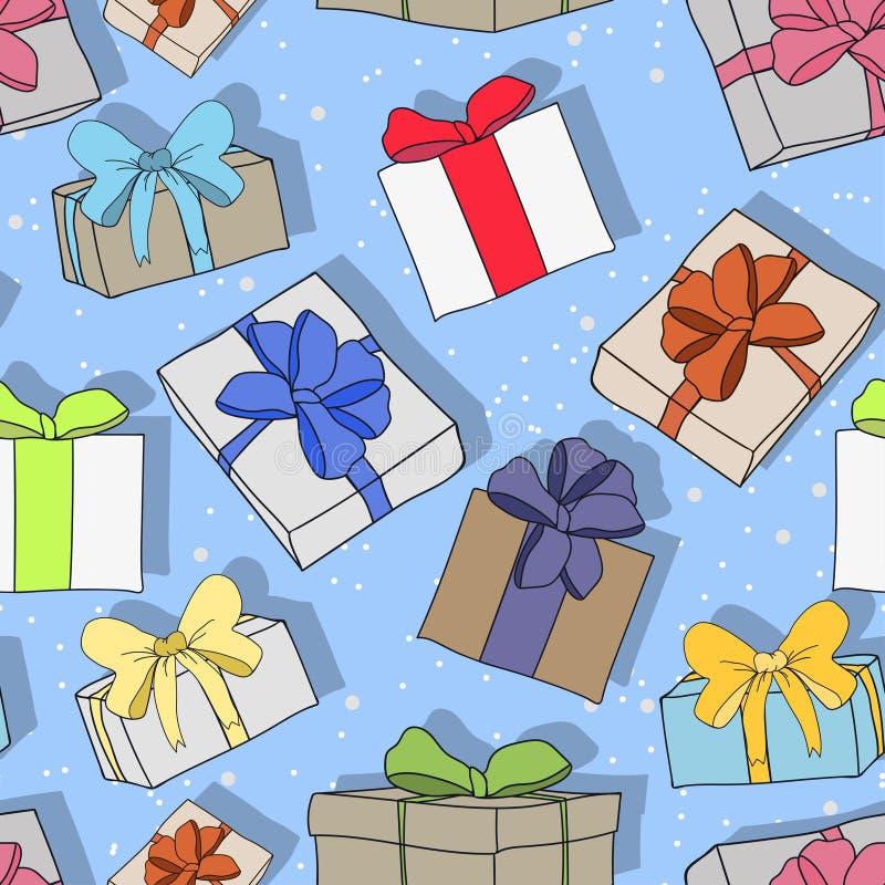 Nahtloses buntes festliches Muster mit Geschenken und Überraschungen, vervollkommnen für jeden möglichen Feiertag, neues Jahr, We stock abbildung