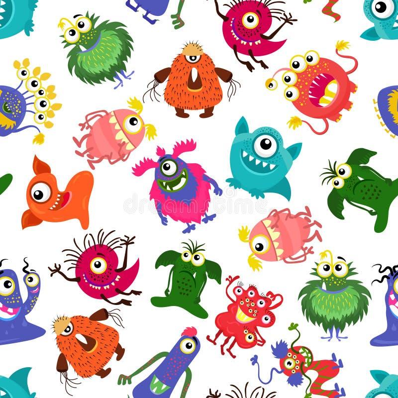 Nahtloses buntes Monstermuster des netten Vektors für glücklichen kleinen Jungen lizenzfreie abbildung