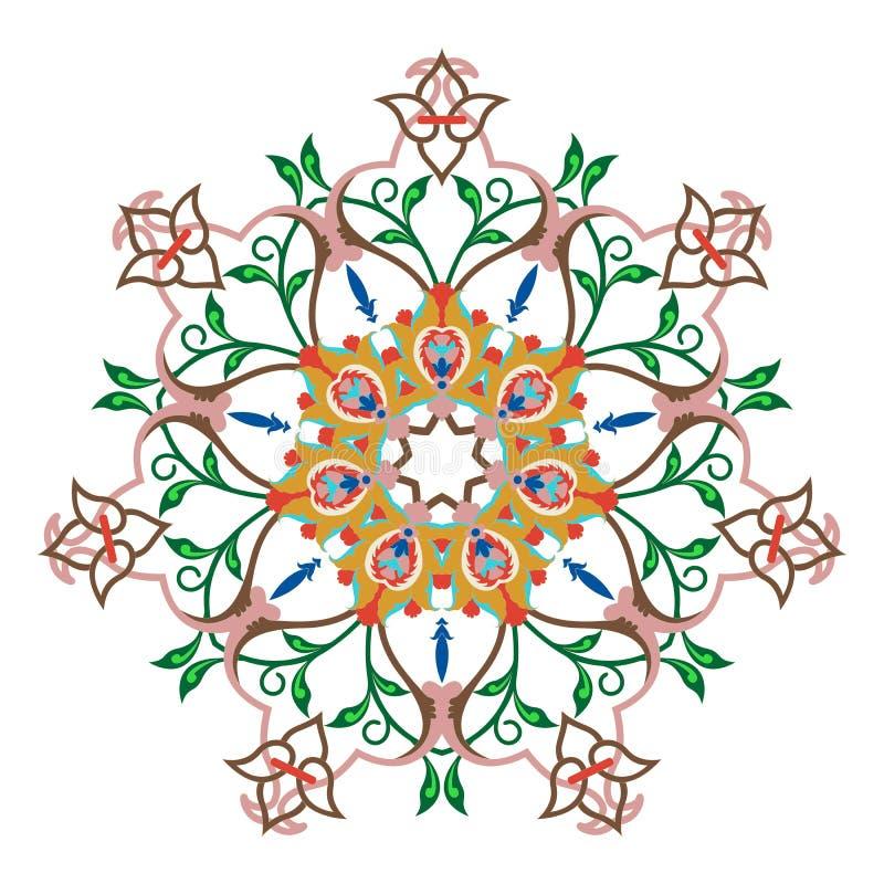 Nahtloses buntes Muster mit Mandala Dekoratives Element der Weinlese vektor abbildung