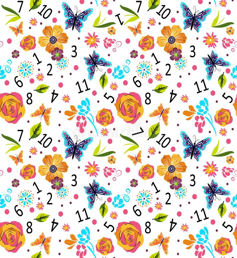 Nahtloses buntes Muster mit Zahlen und Blumen, Vektorillustration nett stock abbildung