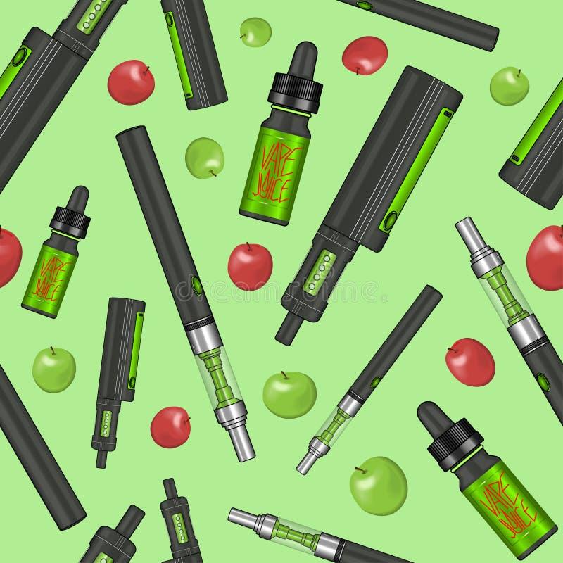 Nahtloses buntes vape Muster stock abbildung