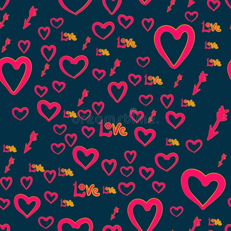 Nahtloses chaotisches Muster mit Amorpfeilen, Liebeswort und Herzelementen Valentine Day-Beschaffenheitshintergrund tapete lizenzfreie abbildung