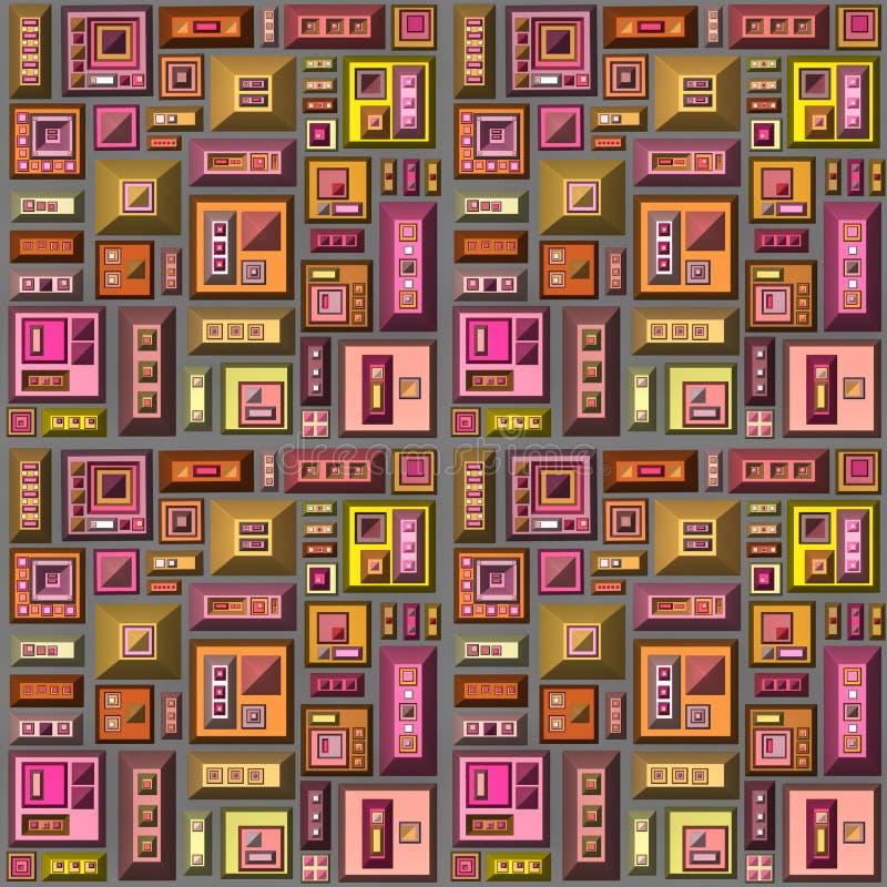 Nahtloses 3d stilisierte futuristische Stadt in der mehrfachen hellen Farbe vektor abbildung