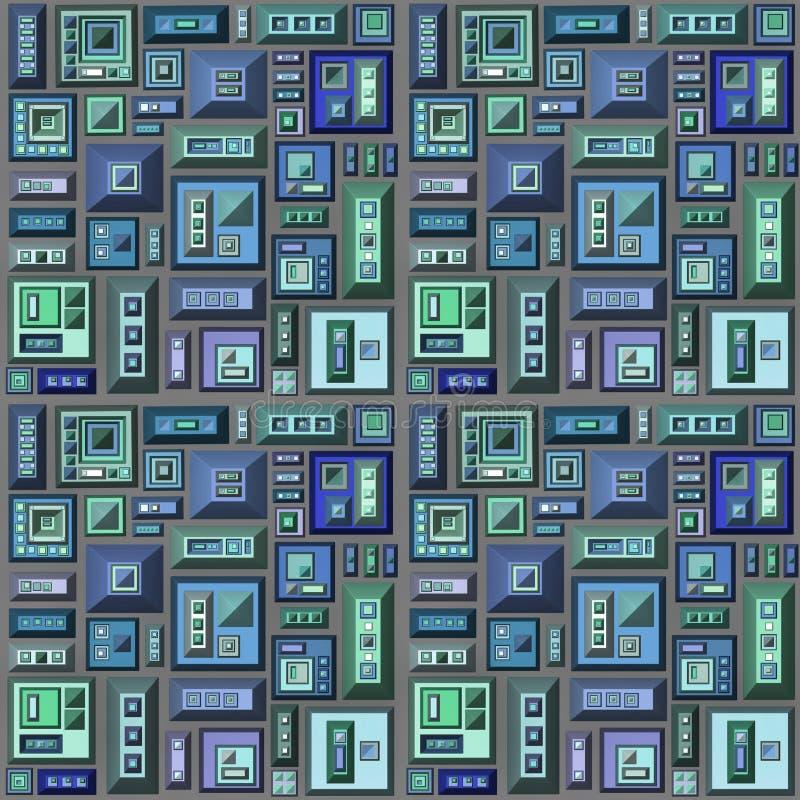 Nahtloses 3d stilisierte futuristische Stadt im Grau des blauen Grüns vektor abbildung