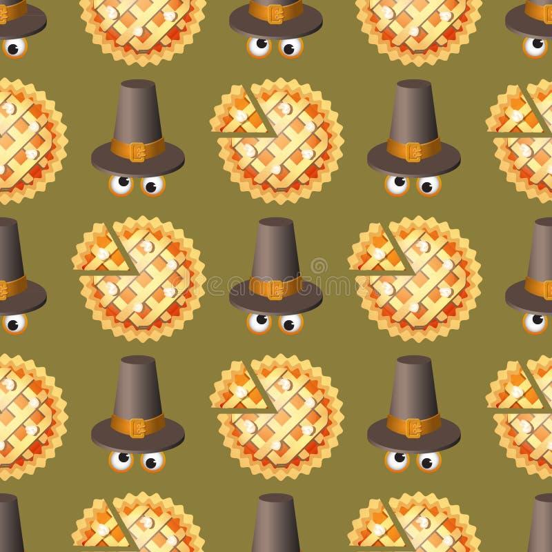 Nahtloses Danksagungstagesmuster mit Kürbiskuchen und Hut lizenzfreie abbildung