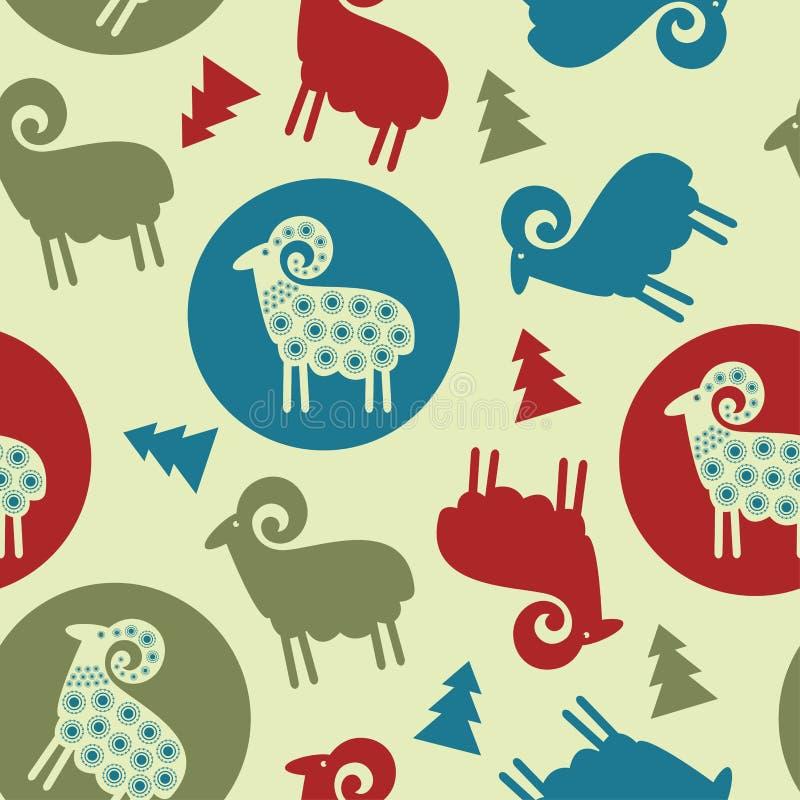 Nahtloses Design der Weihnachtsbaum-Musterschafe stock abbildung