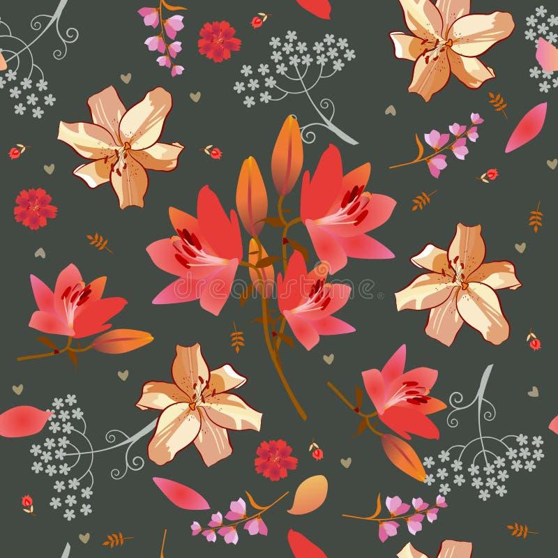 Nahtloses ditsy Blumenmuster mit Rosa und goldene Lilien, Glocke und Regenschirm flowera, kleine Tulpen und wenig Herzen lizenzfreie abbildung