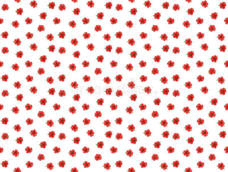 Nahtloses ditsy Mohnblumenmuster auf weißem Hintergrund stock abbildung