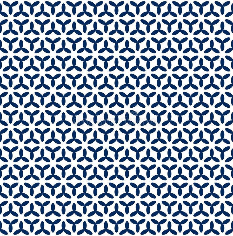 Nahtloses dunkelblaues geometrisches Muster im weißen Hintergrund stock abbildung