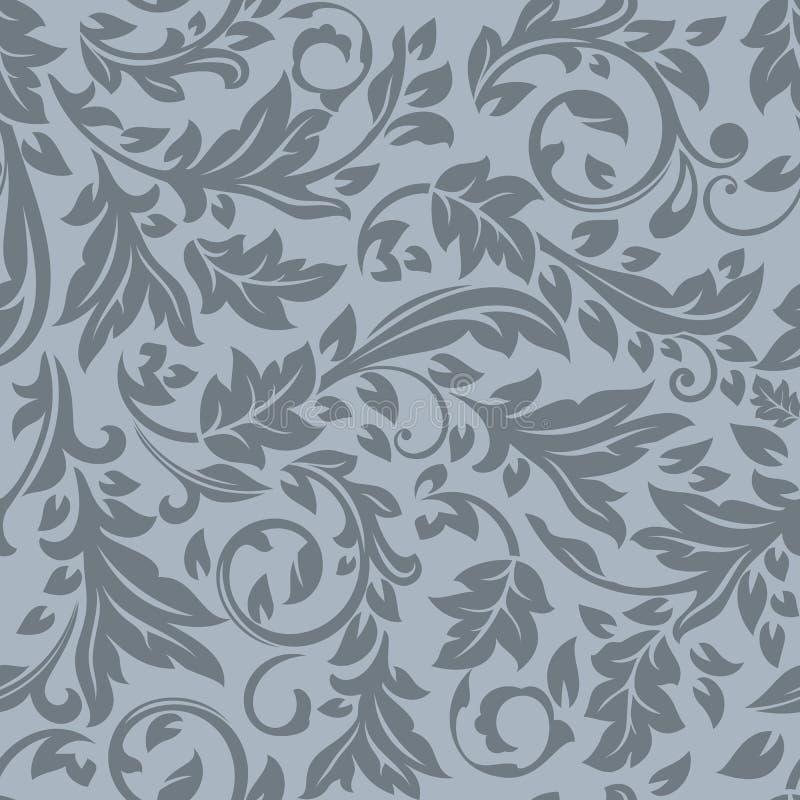 Nahtloses dunkles graues Blumenmuster lizenzfreie abbildung