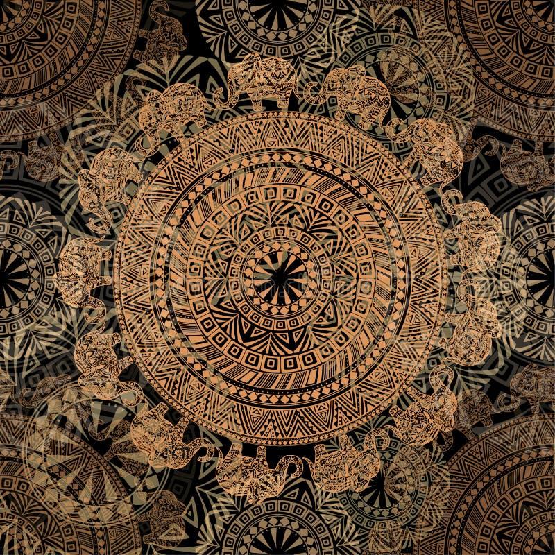 Nahtloses dunkles Muster mit ethnischen Elementen und Elefanten stock abbildung