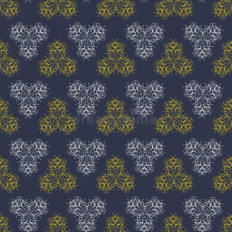 Nahtloses dunkles Musterhintergrundgold und -WEISS stockfoto