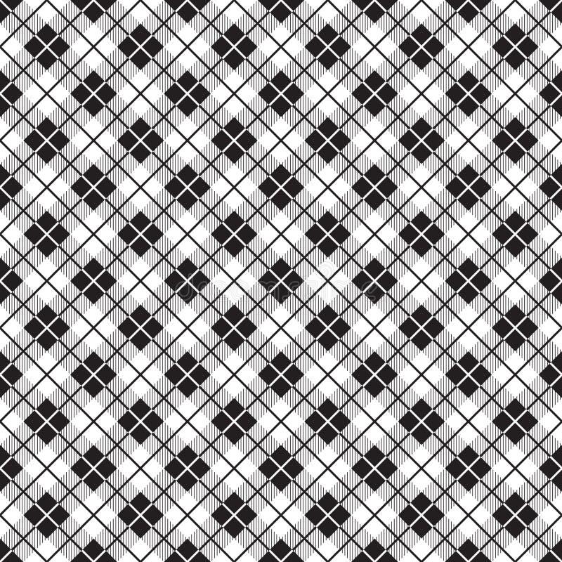 Nahtloses einfaches Schottenstoffplaid-Kontrollmuster in Schwarzweiss vektor abbildung
