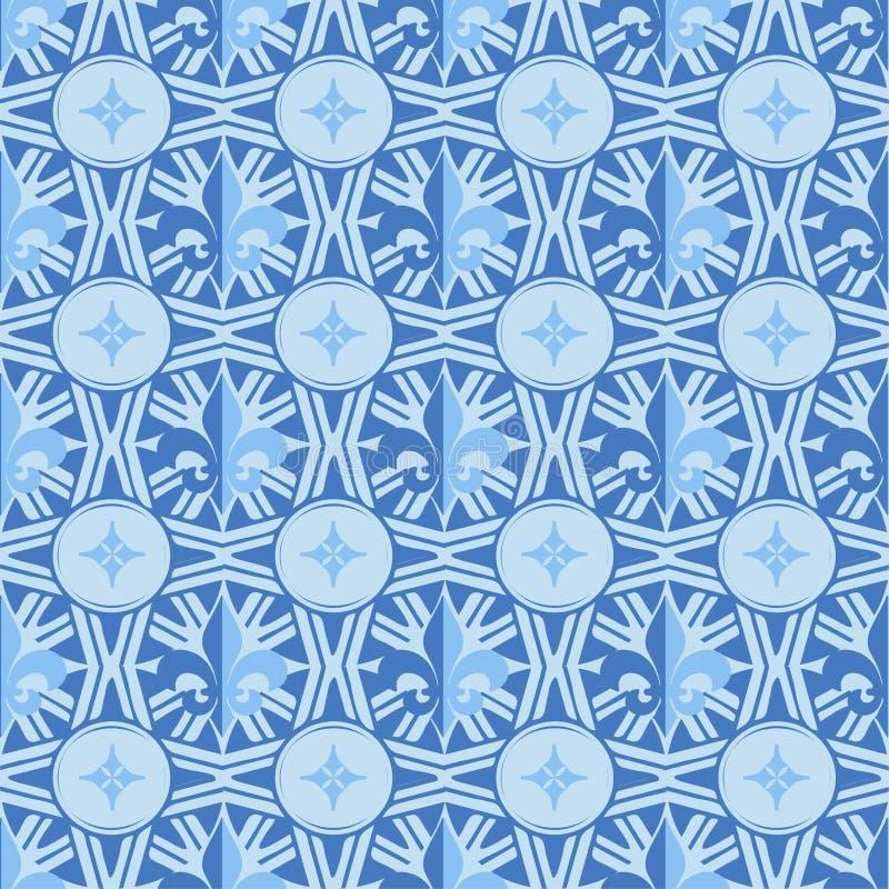 Nahtloses einfarbiges blaues Muster des Vektors: Fleur de Lis oder barocke Art der königlichen Lilie aufwändig lizenzfreie abbildung