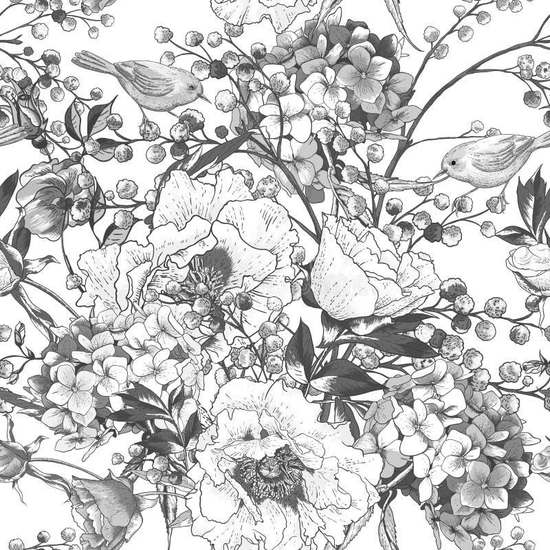 Nahtloses einfarbiges Blumenmuster mit Vögeln lizenzfreie abbildung