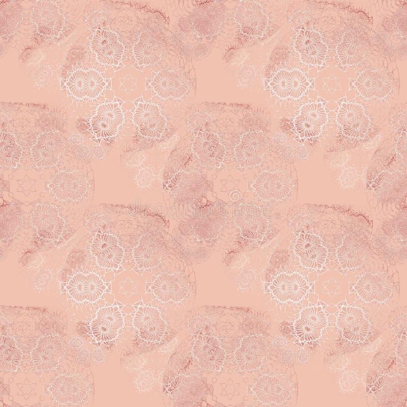 Nahtloses empfindliches Blumenmusterrosa schattiert weiße Beige vektor abbildung