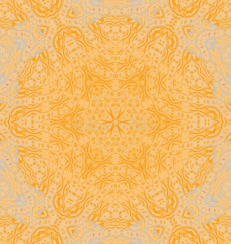 Nahtloses empfindliches rundes Verzierungsgelb-orangees zentriert vektor abbildung