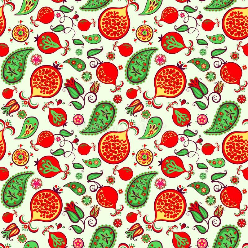 Nahtloses ethnisches dekoratives orientalisches Muster mit saftigen Früchten, Blättern und Blumen des Granatapfels für Modedruck  vektor abbildung